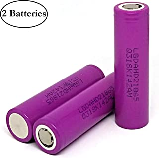 M&A BD 2Pcs HD2 2000mAh 25A 3.7V Rechargeable LG Lithium-ion Battery Flat Top for Electric Tools, Toys, LED Flashlights, Torch, and Etc