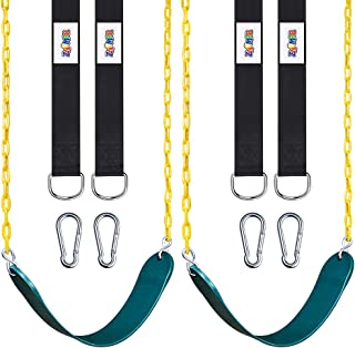 "ZNCMRR 2 Pack Swings Seats Heavy Duty with 66"" Chain Plastic Coated, Playground Swing Set Accessories Replacement with Snap Hooks and Hanging Strap"