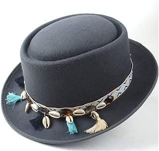 Pork Pie Hat Fedora Trilby Fashion Women Winter Pork Pie Hat Outdoor Travel Casual Wild Hat Porkpie Church Fascinator Hat Trilby Flat Hat Size 58CM (Color : Gray, Size : 58)