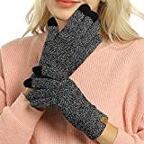 Womens Winter Touchscreen Gloves Cable Knit Warm...