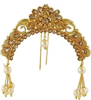 Anuradha Art Jewellery Golden Finish Matte Finish South Indian Jewellery Juda Pin for Women