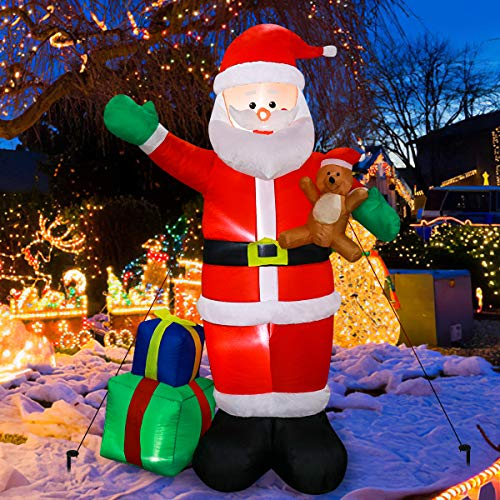 Meland Inflatable Santa Claus Christmas Decoration with 2 Wrapped Gift Boxes 6ft - Christmas Party Yard Garden Lawn Decoration