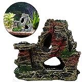Jamicy ™ Adorno para pecera, decoración de acuario, vista a la montaña, rocoso, árbol de cueva, acuario, decoración de resina de musgo no flocado (B)