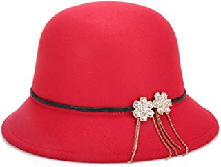 Lei Zhang New Spring Monsoon Warm Hats Street Cold Imitation Woolen pots Hats Early Autumn Ladies Hats (Color : Red, Size : 57cm)