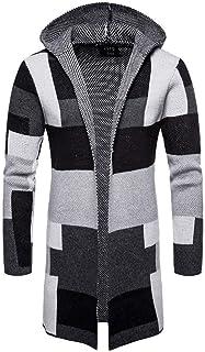 HX fashion Cappotto da Uomo Cappotto a Giacca Quadri con Cappuccio Taglie Comode Patchwork Giacca Lunga Trapuntata Cardiga...