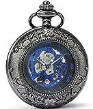 SEWOR Vintage Lupa Esqueleto Reloj de Bolsillo mecánico Mano Viento Reloj de Bolsillo Incluyen Caja de Cuero Marca (Negro & Azul)