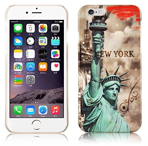 Cadorabo – TPU Hard Cover per  Apple iPhone 6 / iPhone 6S  - Case Cover Involucro Bumper Accessorio in Design: New York - STATTUA-della-libertà