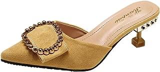 DENER Women Ladies Girls Stiletto Pumps,Buckle Flock Open Back Slip on Pointed Toe Wide Width Comfortable Shoes Mules Sandals
