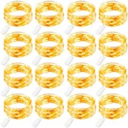 GDEALER 16 Pack 7.2Ft 20 Led Battery Operated Fairy Lights Mini Copper Wire Christmas Lights Firefly String Lights Twinkle Lights for Thanksgiving Christmas Decorations Bedroom Wedding