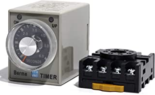 AC 110V Delay Off Relay Switch 8P 6s Time Range Adjustable Timer Relay AH3-3 with Base PF083A