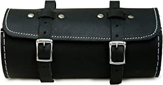 Herte Men's Genuine Leather Schwinn Bicycle Round Saddle Bag Utility Tool Bag 18.3 X 7.6 Cm Black