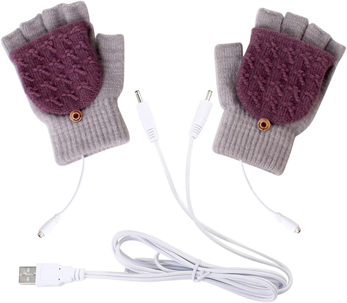 puseky USB Heated Gloves Winter Full Half Fingers Electric Heating Warm Gloves Mittens