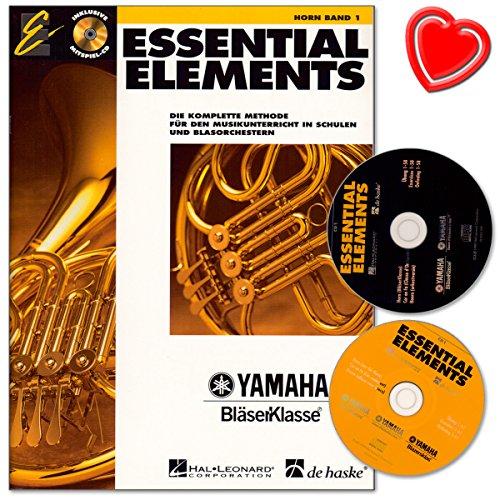 Essential Elements Band 1 für Horn mit 2 CDs - Die komplette Methode für den Musikunterricht in Schulen und Blasorchestern - mit bunter herzförmiger Notenklammer