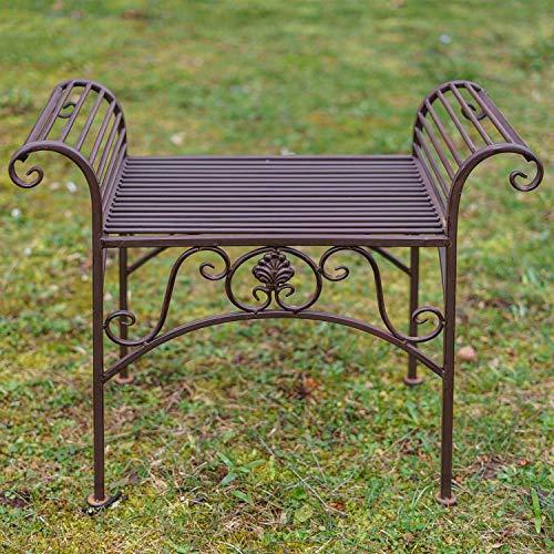Gartenbank Eisen Metall Antik-Stil Garten Bank Gartenmöbel braun 70cm - 2