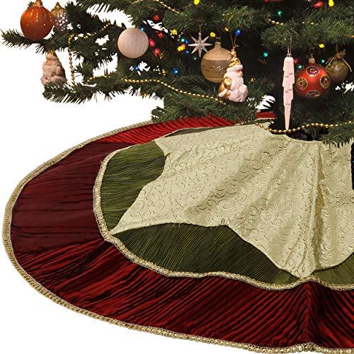 Waleri Madelyn 121,9cm Klassischer, traditioneller Gold und Grün Weihnachtsbaum Rock mit rotem Rand