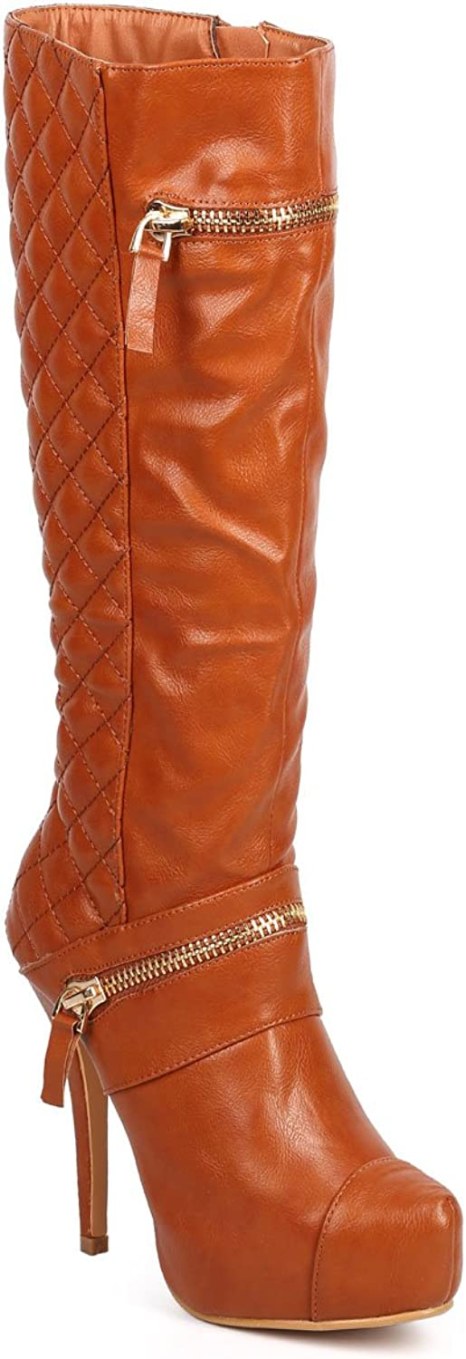 Nature Breeze Women Quilted Knee High Cap Toe Front Stiletto Bootie DC66 - Tan