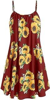 Xingopy Summer Dresses Women Sunflower Print Tank Strap Short Mini Dress Suits Casual Beach Sundress Party Tunic Dress