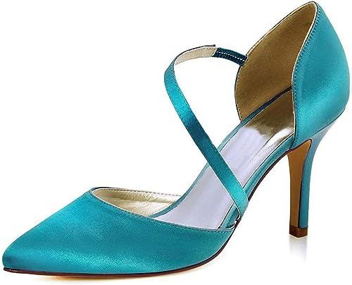 ZHRUI Les Les dames Pointues Orteil Orteil Orteil Cheville Wrap Satin élégantes Chaussures de soirée d'affaires de Mariage (Couleuré   vert-9cm Heel, Taille   3 UK) 2bb