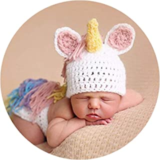 M&G House Newborn Photography Props Crochet Knitted Unicorn Baby Photo Costume Unisex Baby Cap Outfit Pink