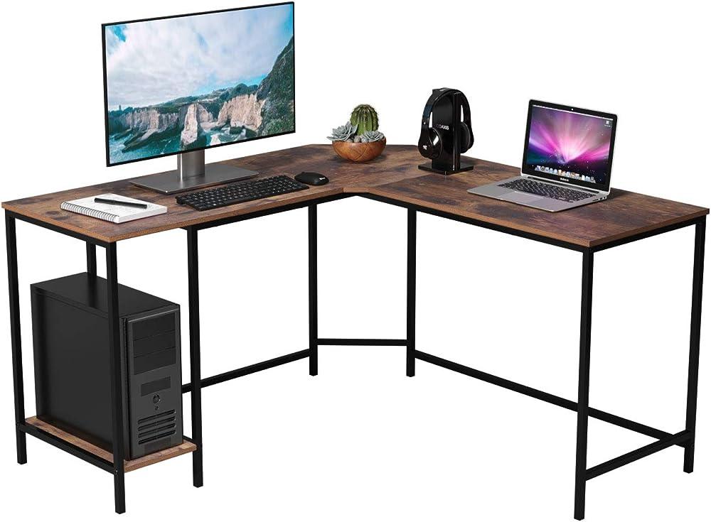 Homfa, scrivania da ufficio, angolare a forma di l, porta computer,in legno e metallo HIR-085