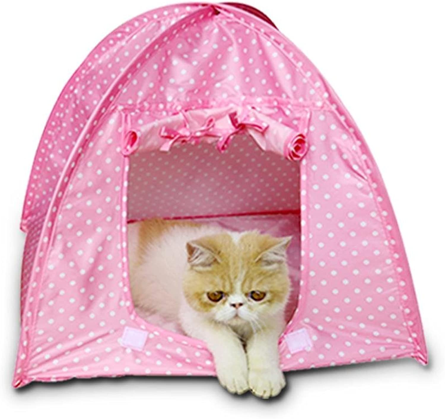 Pet Tent Outdoor Folding Cat Nest Pet Nest Mosquito Dotted Point Puppy House Cat Toy House , Pink