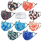Cloth Face Maks for Women Men Washable Reusable,Build-in Nose Wire&Filter Pocket&9 Filters Adjustable Breathable 3 Layers Cotton Cup Dust Safety Protection Fabric with Animal Designer Printed(9 Pcs,Japanese Style)