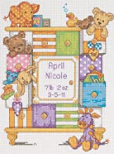 Dimensions Counted Cross Stitch Kit Baby Drawers Birth Record Personalized Baby Gift, 14 Count White Aida, 9