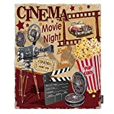AOYEGO Cinema Blanket Retro Poster Film Movie Night Entertainment Leisure Vintage Studio Corn Throw Blanket Lightweight Soft 40X50 Inch Flannel for Couch Bedroom Home Chair Puppy Kitten Pets