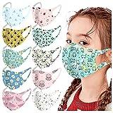 10PC_Masque_Enfant Imprimé Papillon Coton de Soie glacée Tissu Lavable...