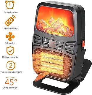 KXHWSH Mini Calefactor Eléctrico Ventilador de Calefactor,Heater Portátil Bajo Consumo Protección de Sobrecalentamiento Termoventilador con Control Remoto y Luz de Llama para Hogar y Oficina