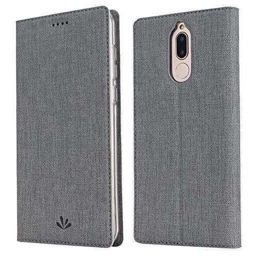 Feitenn Huawei Mate 10 lite Hülle, dünne Premium PU Leder Flip Handy Schutzhülle | TPU-Stoßstange, Kartenschlitz, Kameraschutz- & Standfunktion Brieftasche Etui (Grau)