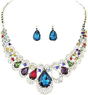 Offerte di liquidazione, Fittingran Collana + Orecchini Gioielli Set Womens Misto Stile Boemia Colore Bib Chain Collana Or...