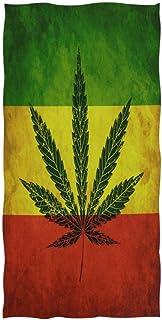 rodde Serviette de Bain Mains Cannabis De Marijuana Feuilles Vintage Gant de Toilette par Hotel Spa Gym Sport 30x15 Pouces...