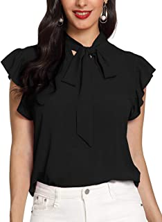 Women's Casual Short Sleeve Ruffle Bow Tie Blouse Top Shirts