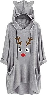 NANTE Top Women's Dress Christmas Deer Elk Print Cat Ear Hooded Long Sleeve Pocket Dresses Xmas Skirt Sweet Girl Casual Dress