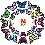 Kissral 24 Piezas Mariposa Parches Bordados, Pegatinas Apliques Bordados Termoadhesivos para Bricolaje Costura Bolsas Ropa Sombreros Placa