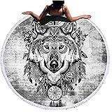 Sticker Superb 3D Strandtuch Traumfänger Wolf Blume Schädel Runde Badetuch Mit Quasten 540g Weiche Mikrofaser 150 cm Sommer Schwimmen Picknick Decke Wand Tapisserie (Wolf Kopf)