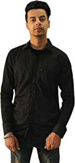 Matelco Men's Black Cotton Casual Shirt (AD07RG003BK)