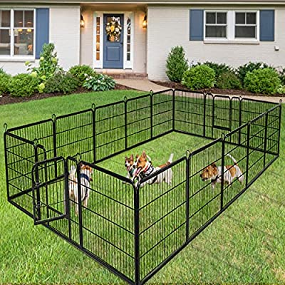 Giantex 24/32/40/48inch Dog Playpen with Door, 16/8 Panel Pet Playpen for Large and Small Dogs, Portable Foldable Freestanding Dog Exercise Pens, Metal Dog Playpen Indoor & Outdoor