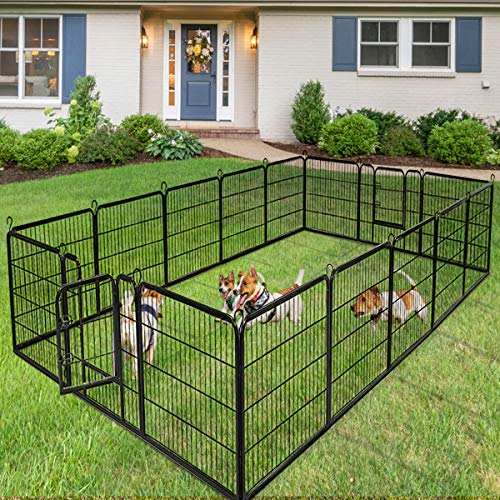 Giantex 40/48inch Dog Playpen with Door, 16/8 Panel Pet Playpen for Large and Small Dogs, Portable Foldable Freestanding Dog Exercise Pens, Metal Dog Playpen Indoor & Outdoor (16 Panels, 40)