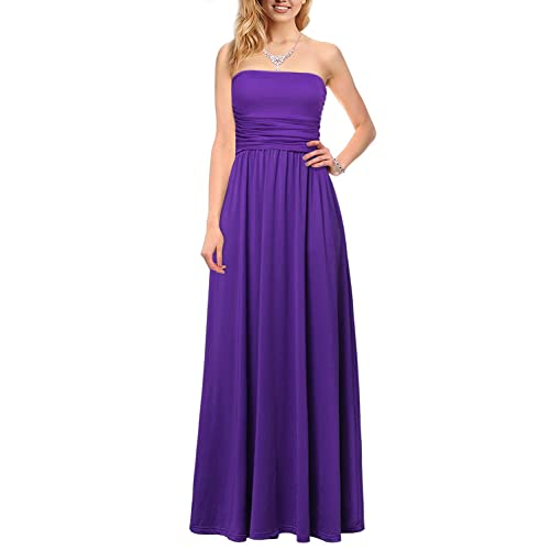 Long Strapless Purple Dress