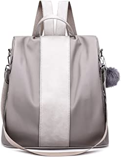 Kingrock Pompom Women Backpack Purse Waterproof Nylon Anti-Theft Rucksack Lightweight Shoulder Bag (Gray)