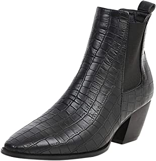 〓COOlCCI〓Women's Classic Pointed Toe Western Cowboy Booties, Mid Heel Ankle BootieMid-Calf Boots Winter Combat Booties
