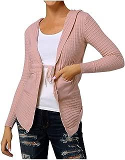 QIQIU Womens Fashion Hooded Casual Plaid Long Sleeve Bandage Pockets Elegant Cardigan Outerwear Coat