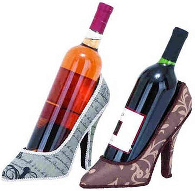 Wine Bottle Holder High Heel Shoe Lot Of 2 Assorted Pattern Barware