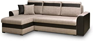 MEUBLO Canapé d'angle Convertibles 3 Place Tissu + Simili Cuir Tommy (Beige, Canapé d'angle Gauche)