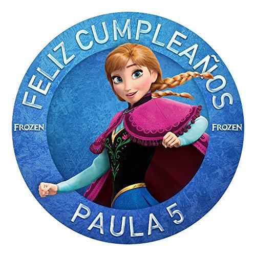 OBLEA de Papel de azúcar Personalizada, 19 cm, diseño de Anna de Disney Frozen