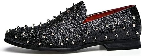 Mens Dress Schuhe Spiked Party Office Shining Pailletten Slip-On Loafers Rivet Oxfords Business-Schuhe