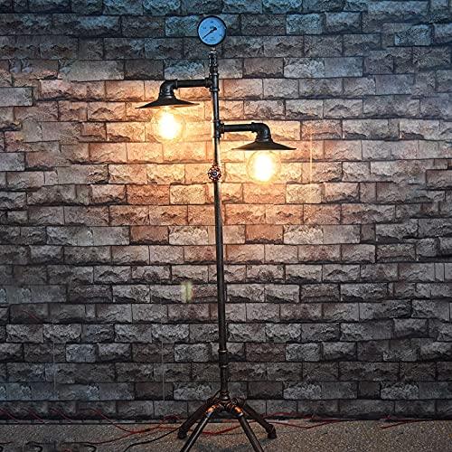 DO-MF Lámparas de pie industriales, lámpara de pie Retro de Hierro Retro de pie Vintage, para Bar cafetería Restaurante Sala de Estar Dormitorio Oficina, Enchufe E27, 40 W