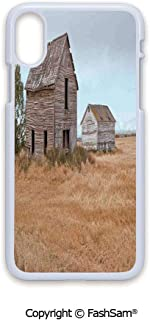Plastic Rigid Mobile Phone case Compatible with iPhone X Black Edge Abandoned Wooden House in Grain Agriculture Farmland with Tree Gloomy Weather Theme 2D Print Hard Plastic Phone Case